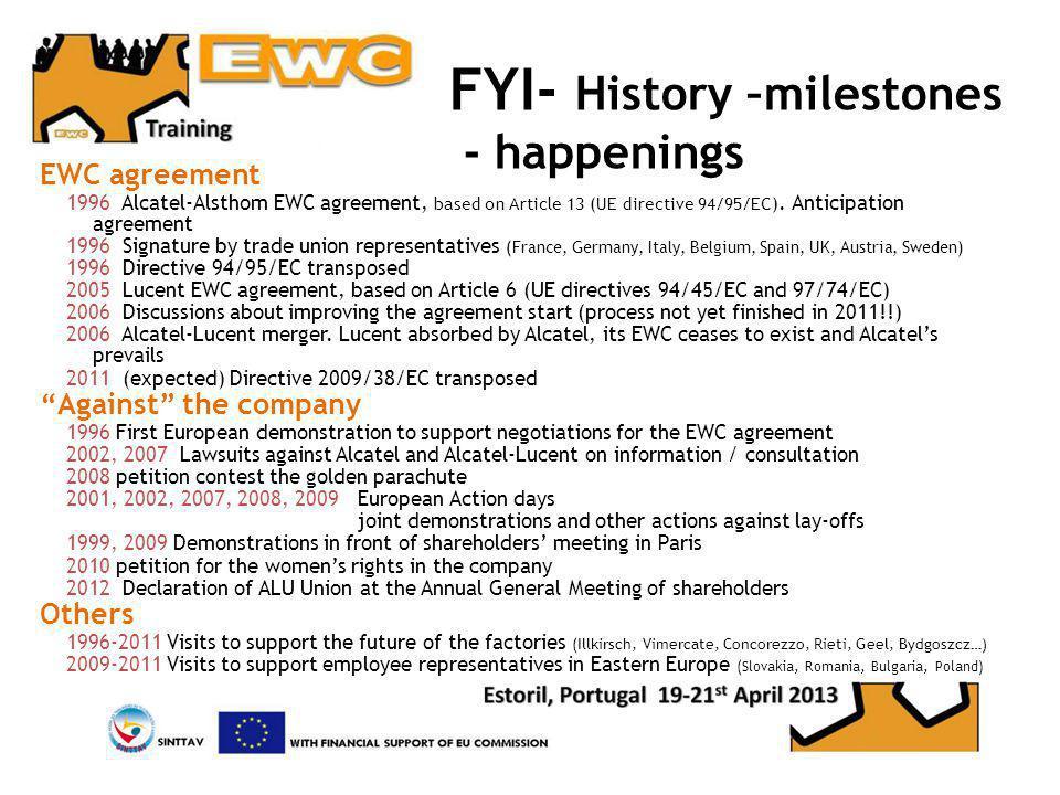 FYI- History –milestones - happenings EWC agreement 1996 Alcatel-Alsthom EWC agreement, based on Article 13 (UE directive 94/95/EC).