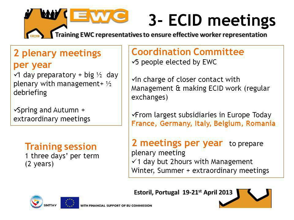 3- ECID meetings 2 plenary meetings per year 1 day preparatory + big ½ day plenary with management+ ½ debriefing Spring and Autumn + extraordinary meetings Training session 1 three days per term (2 years) Coordination Committee 5 people elected by EWC In charge of closer contact with Management & making ECID work (regular exchanges) From largest subsidiaries in Europe Today France, Germany, Italy, Belgium, Romania 2 meetings per year to prepare plenary meeting 1 day but 2hours with Management Winter, Summer + extraordinary meetings