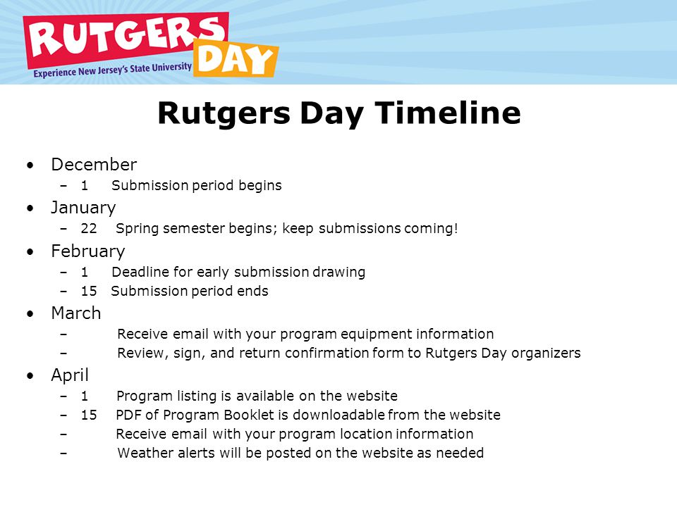 Rutgers Day Timeline December –1 Submission period begins January –22 Spring semester begins; keep submissions coming.