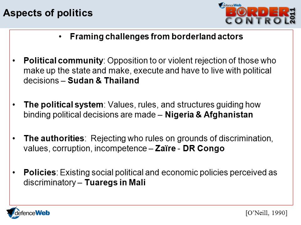 Aspects of politics Framing challenges from borderland actors Political community: Opposition to or violent rejection of those who make up the state and make, execute and have to live with political decisions – Sudan & Thailand The political system: Values, rules, and structures guiding how binding political decisions are made – Nigeria & Afghanistan The authorities: Rejecting who rules on grounds of discrimination, values, corruption, incompetence – Zaïre - DR Congo Policies: Existing social political and economic policies perceived as discriminatory – Tuaregs in Mali [ONeill, 1990]