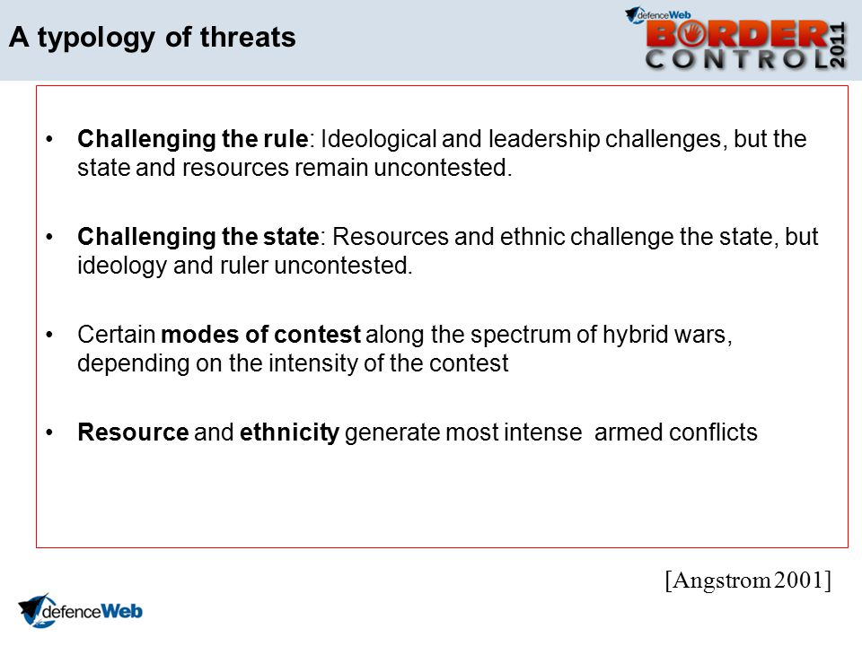 A typology of threats Challenging the rule: Ideological and leadership challenges, but the state and resources remain uncontested.