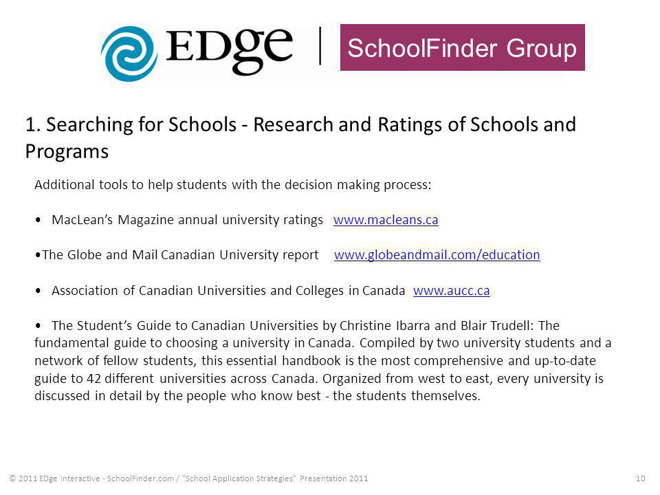 SchoolFinder Group 1. Searching for Schools - Research and Ratings of Schools and Programs 10© 2011 EDge Interactive - SchoolFinder.com / School Appli