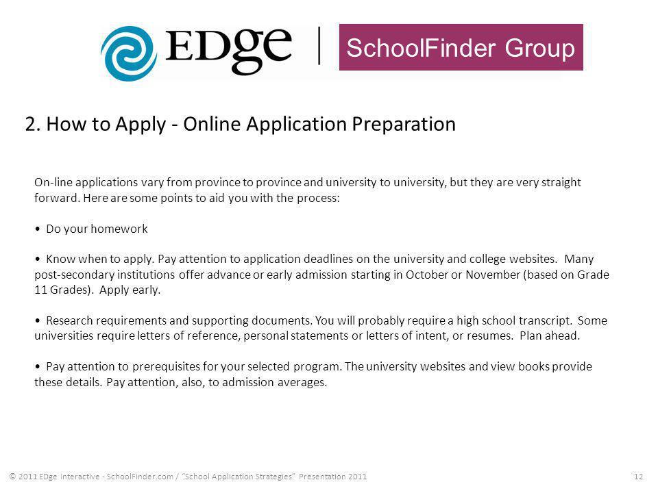 SchoolFinder Group 2. How to Apply - Online Application Preparation 12© 2011 EDge Interactive - SchoolFinder.com / School Application Strategies Prese