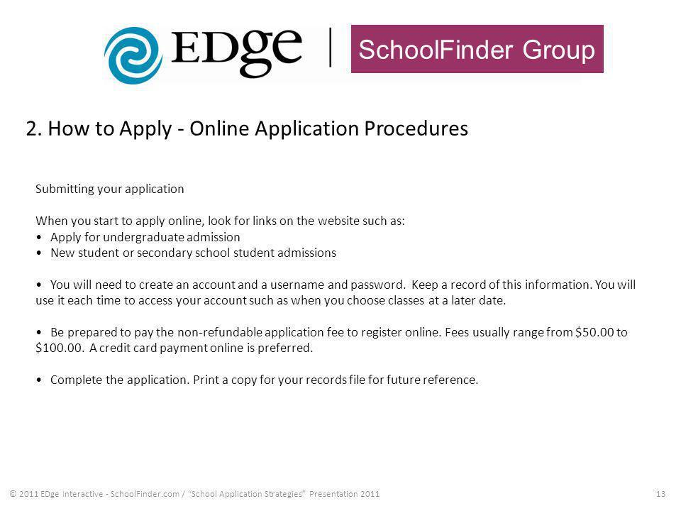 SchoolFinder Group 2. How to Apply - Online Application Procedures 13© 2011 EDge Interactive - SchoolFinder.com / School Application Strategies Presen