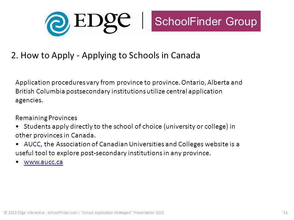 SchoolFinder Group 2. How to Apply - Applying to Schools in Canada 14© 2011 EDge Interactive - SchoolFinder.com / School Application Strategies Presen