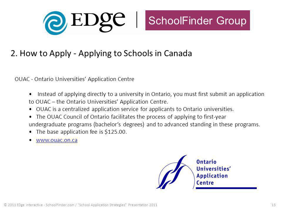 SchoolFinder Group 2. How to Apply - Applying to Schools in Canada 15© 2011 EDge Interactive - SchoolFinder.com / School Application Strategies Presen