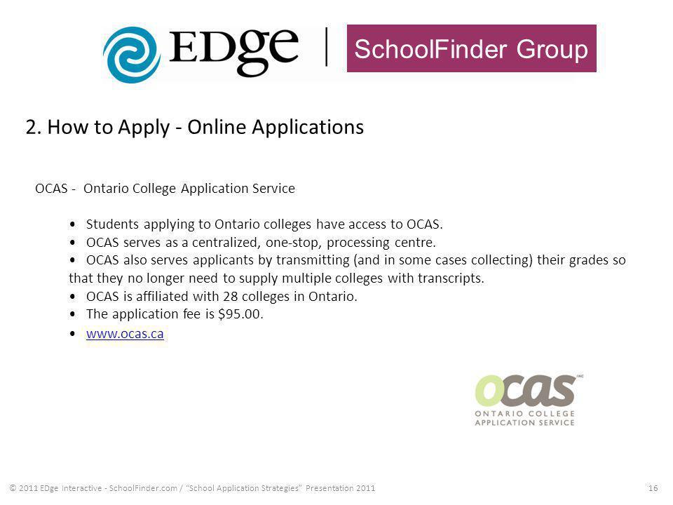 SchoolFinder Group 2. How to Apply - Online Applications 16© 2011 EDge Interactive - SchoolFinder.com / School Application Strategies Presentation 201