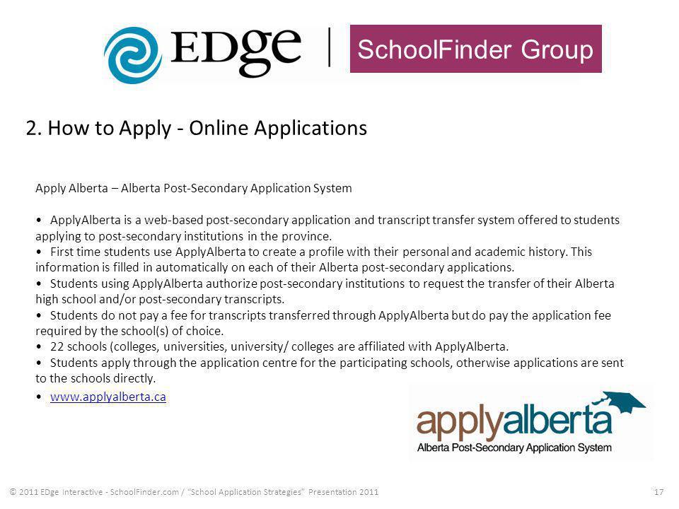 SchoolFinder Group 2. How to Apply - Online Applications 17© 2011 EDge Interactive - SchoolFinder.com / School Application Strategies Presentation 201