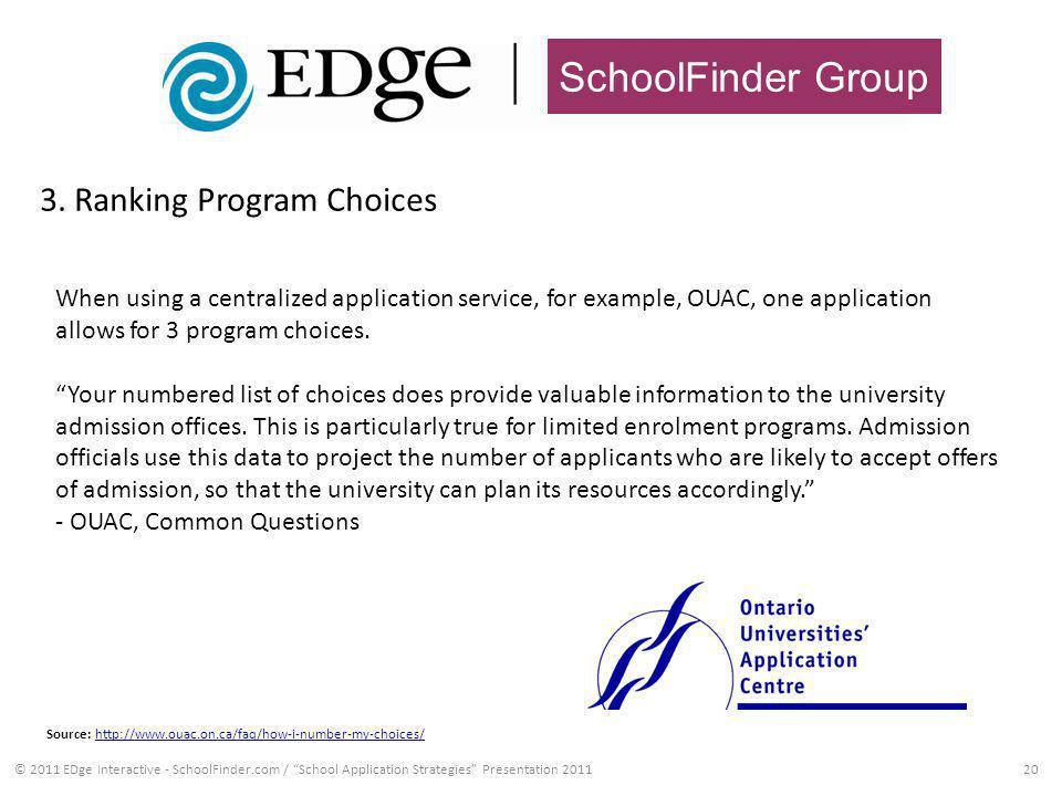 SchoolFinder Group 3. Ranking Program Choices 20© 2011 EDge Interactive - SchoolFinder.com / School Application Strategies Presentation 2011 When usin