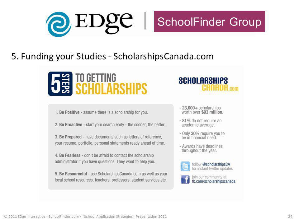 SchoolFinder Group 5. Funding your Studies - ScholarshipsCanada.com 24© 2011 EDge Interactive - SchoolFinder.com / School Application Strategies Prese
