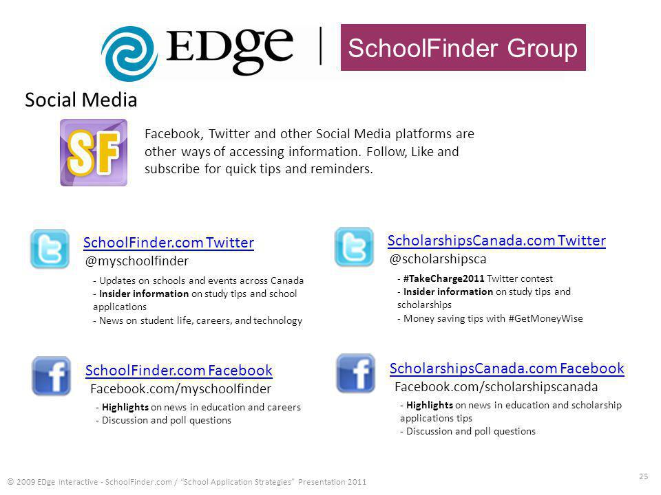 SchoolFinder Group 25 © 2009 EDge Interactive - SchoolFinder.com / School Application Strategies Presentation 2011 SchoolFinder.com Twitter Facebook, Twitter and other Social Media platforms are other ways of accessing information.