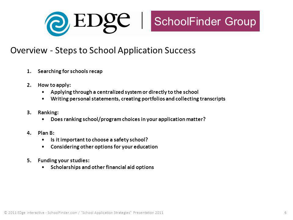 SchoolFinder Group 6 1.Searching for schools recap 2.How to apply: Applying through a centralized system or directly to the school Writing personal statements, creating portfolios and collecting transcripts 3.Ranking: Does ranking school/program choices in your application matter.