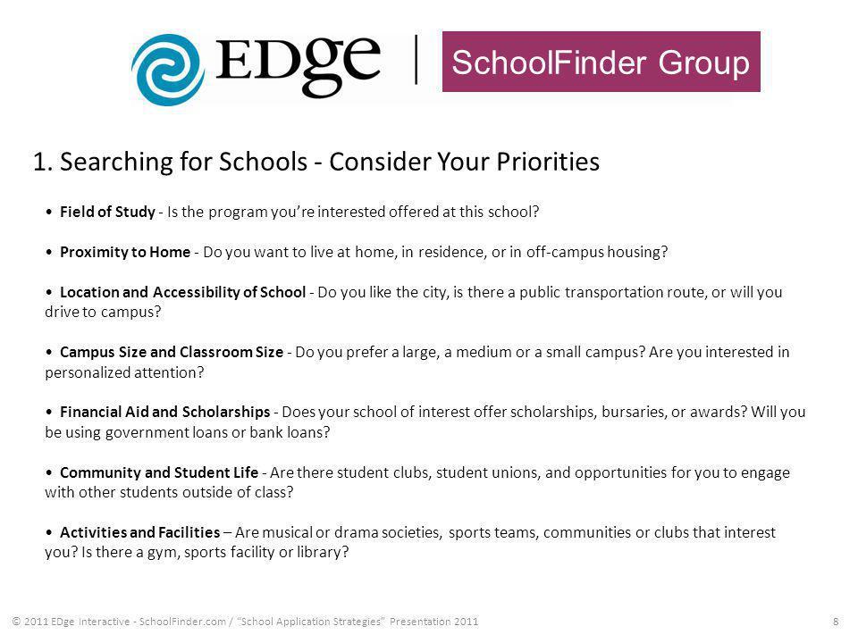 SchoolFinder Group 1. Searching for Schools - Consider Your Priorities 8© 2011 EDge Interactive - SchoolFinder.com / School Application Strategies Pre