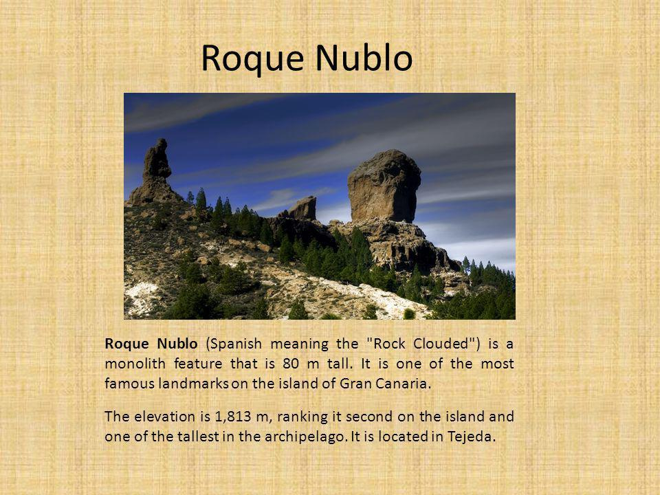 Roque Nublo Roque Nublo (Spanish meaning the Rock Clouded ) is a monolith feature that is 80 m tall.