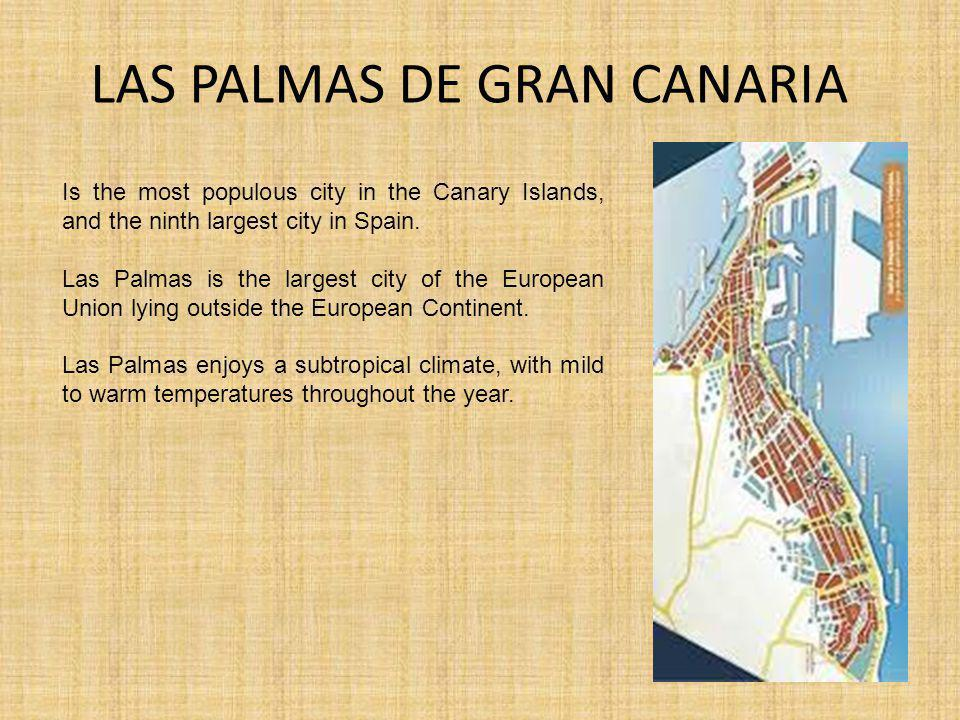 LAS PALMAS DE GRAN CANARIA Is the most populous city in the Canary Islands, and the ninth largest city in Spain.