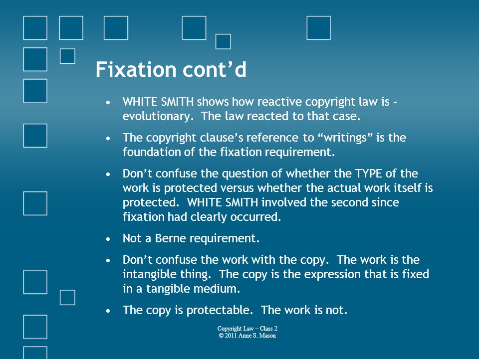 Fixation contd WHITE SMITH shows how reactive copyright law is – evolutionary.
