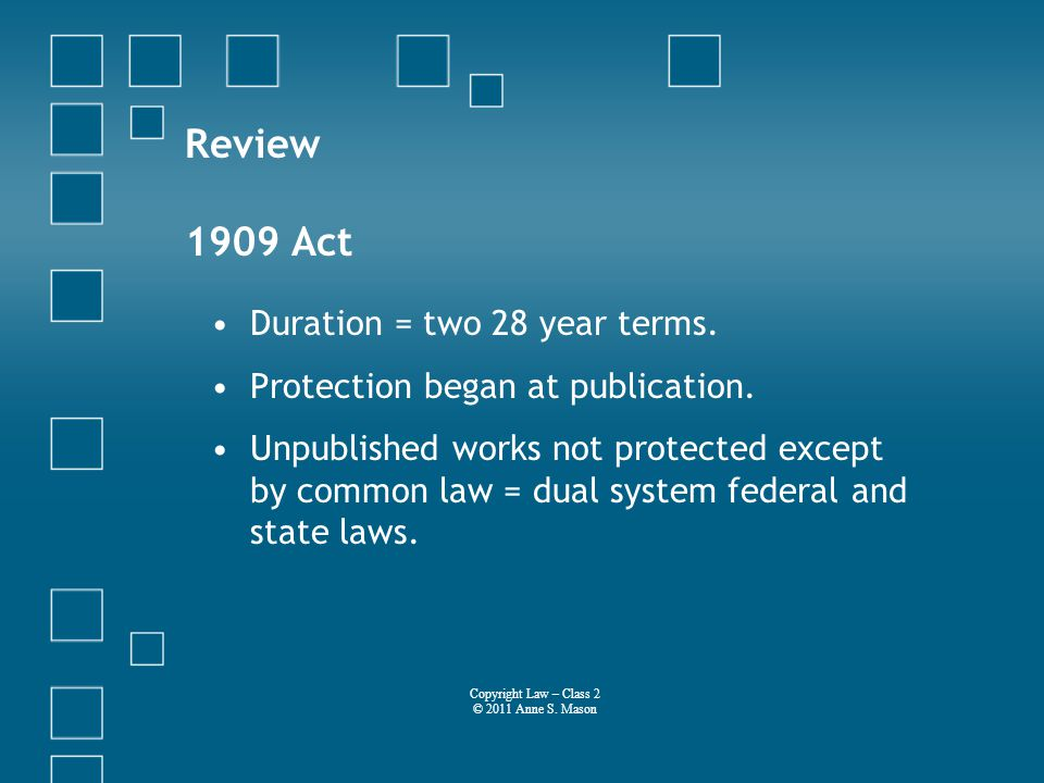 Review 1909 Act Duration = two 28 year terms. Protection began at publication.