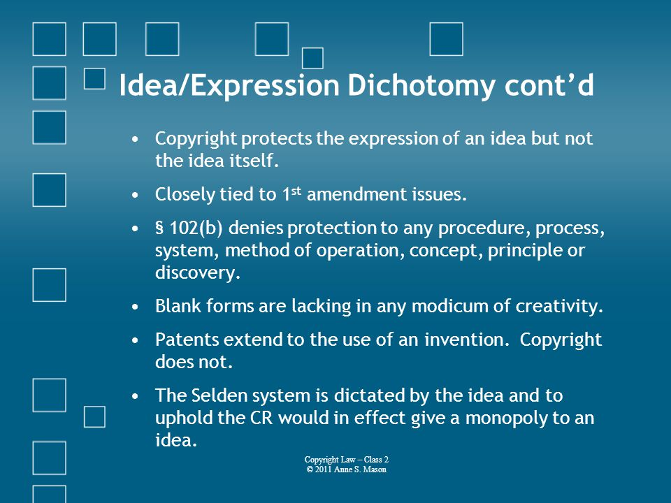 Idea/Expression Dichotomy contd Copyright protects the expression of an idea but not the idea itself.