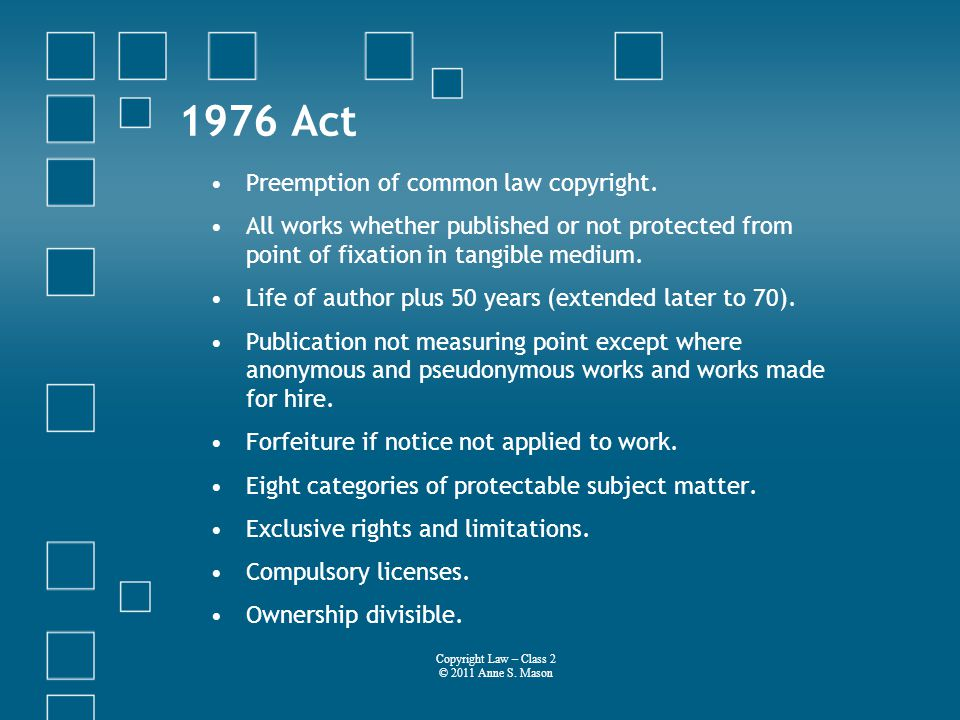 1976 Act Preemption of common law copyright.