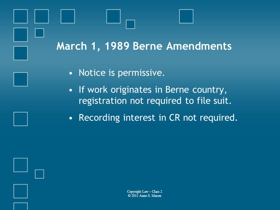 March 1, 1989 Berne Amendments Notice is permissive.