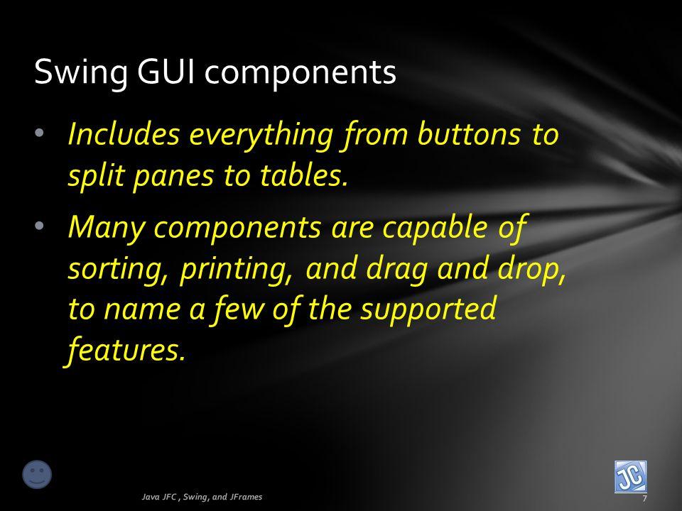 First GUI program Java JFC, Swing, and JFrames18 This is a special feature called a JOptionPane.showMessageDialog box.