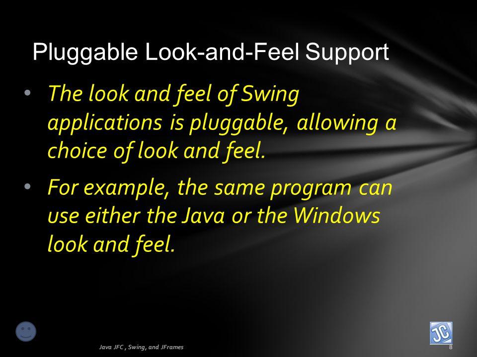 First GUI program Java JFC, Swing, and JFrames19 The JOptionPane class also provides a simple input mechanism using the showInputDialog feature.