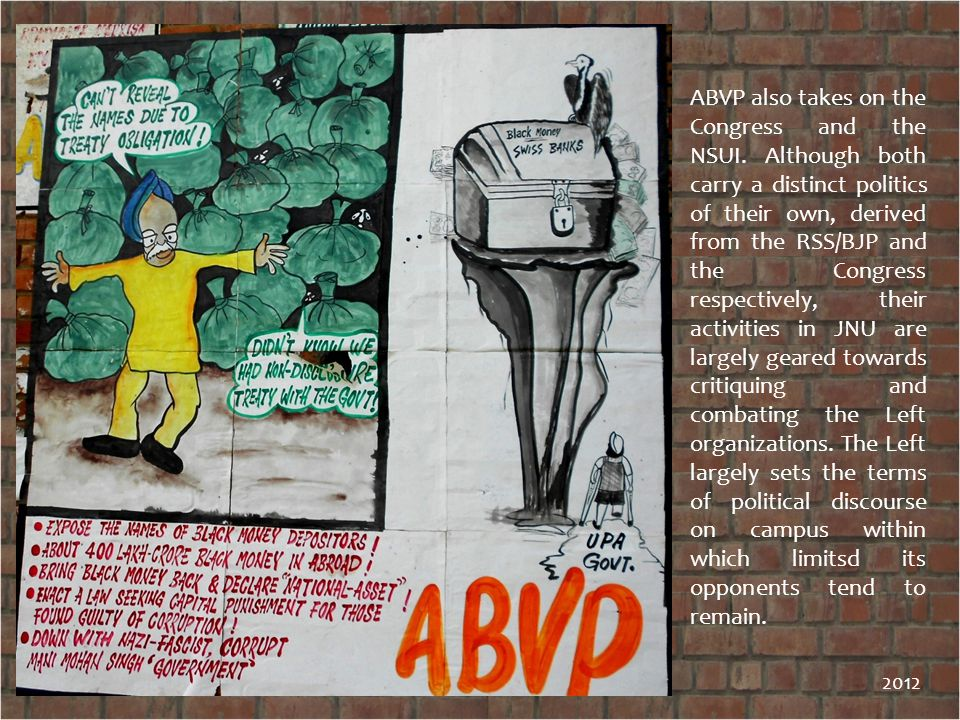 ABVP also takes on the Congress and the NSUI.
