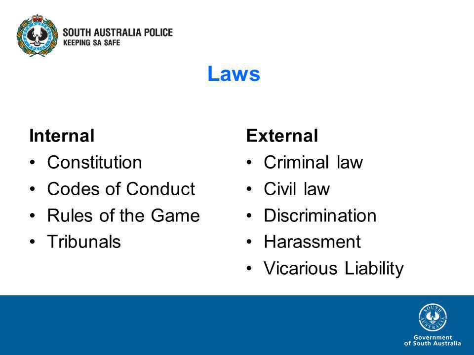 Laws Internal Constitution Codes of Conduct Rules of the Game Tribunals External Criminal law Civil law Discrimination Harassment Vicarious Liability