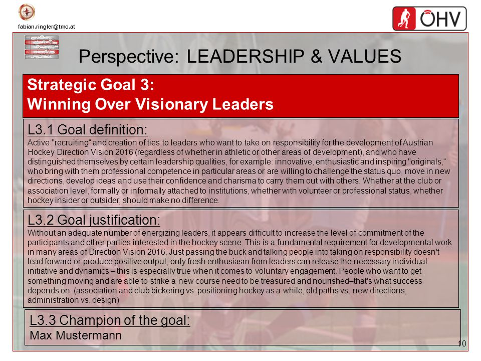 fabian.ringler@tmo.at 10 Perspective: LEADERSHIP & VALUES Strategic Goal 3: Winning Over Visionary Leaders L3.1 Goal definition: Active ''recruiting a