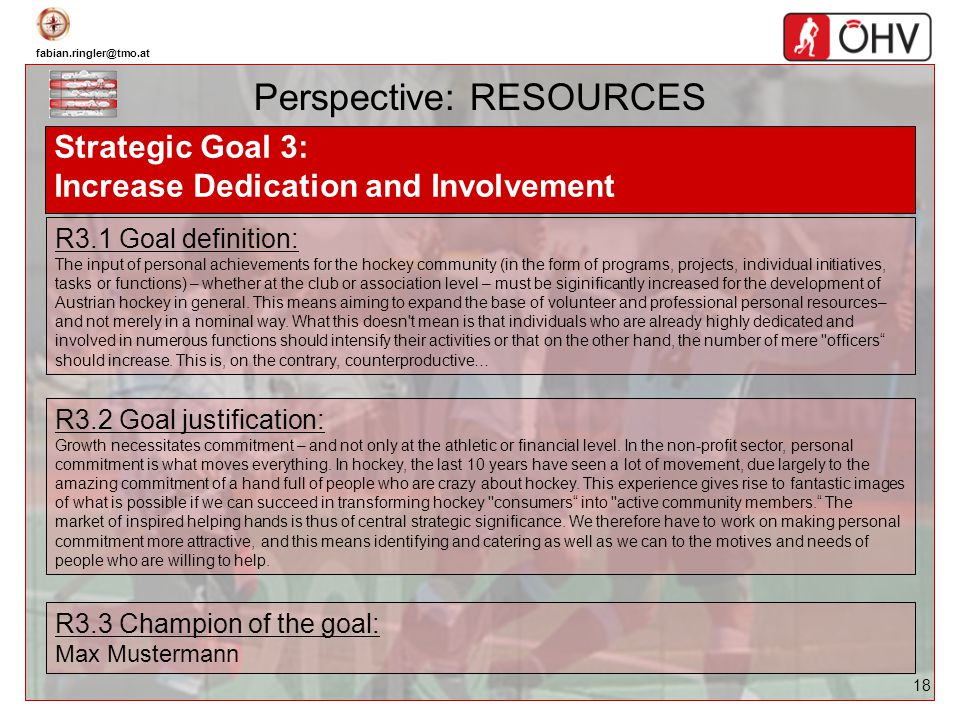fabian.ringler@tmo.at 18 Perspective: RESOURCES Strategic Goal 3: Increase Dedication and Involvement R3.1 Goal definition: The input of personal achi