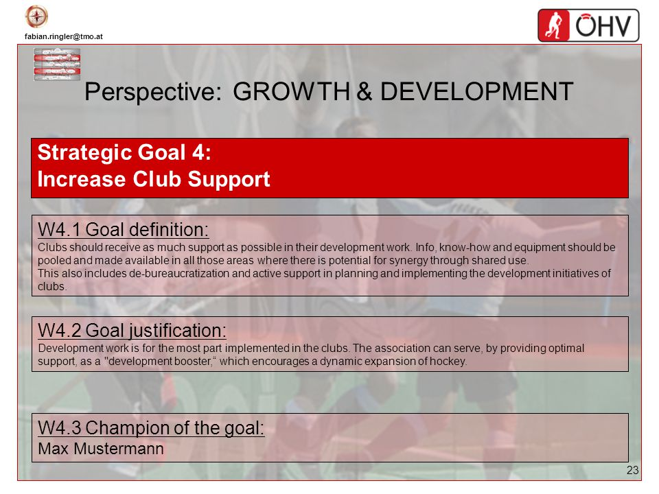 fabian.ringler@tmo.at 23 Perspective: GROWTH & DEVELOPMENT Strategic Goal 4: Increase Club Support W4.1 Goal definition: Clubs should receive as much
