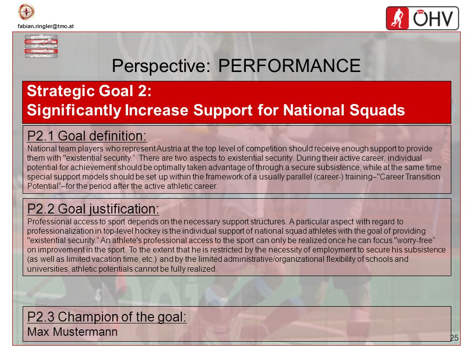 fabian.ringler@tmo.at 25 Perspective: PERFORMANCE Strategic Goal 2: Significantly Increase Support for National Squads P2.1 Goal definition: National