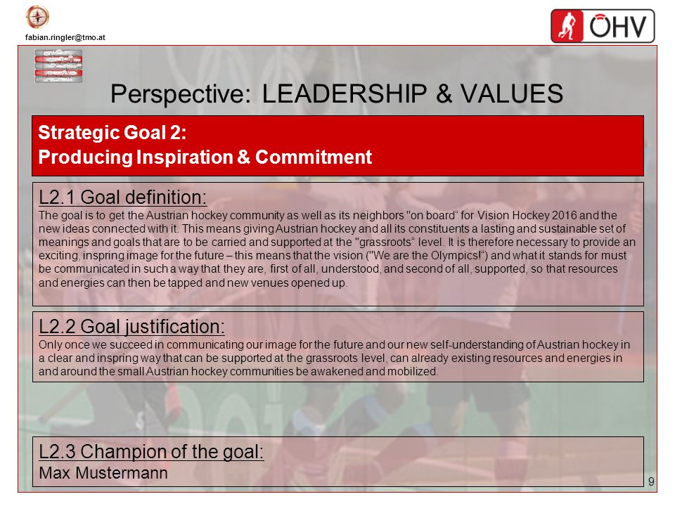 fabian.ringler@tmo.at 9 Perspective: LEADERSHIP & VALUES Strategic Goal 2: Producing Inspiration & Commitment L2.1 Goal definition: The goal is to get