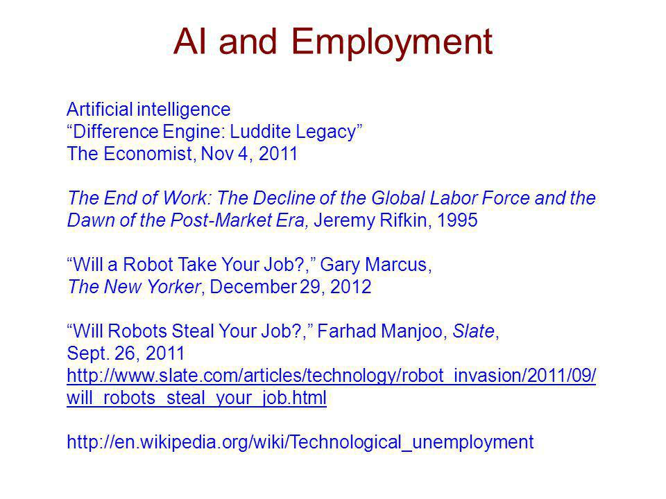 AI and Employment Artificial intelligence Difference Engine: Luddite Legacy The Economist, Nov 4, 2011 The End of Work: The Decline of the Global Labo