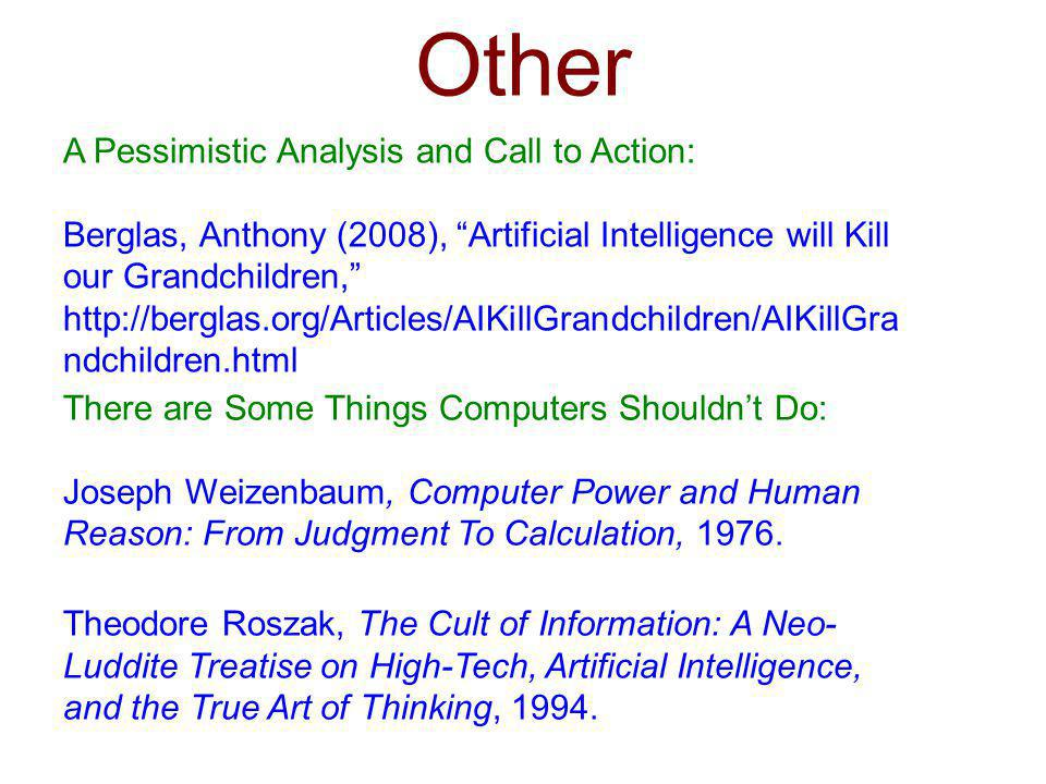 Other A Pessimistic Analysis and Call to Action: Berglas, Anthony (2008), Artificial Intelligence will Kill our Grandchildren, http://berglas.org/Arti