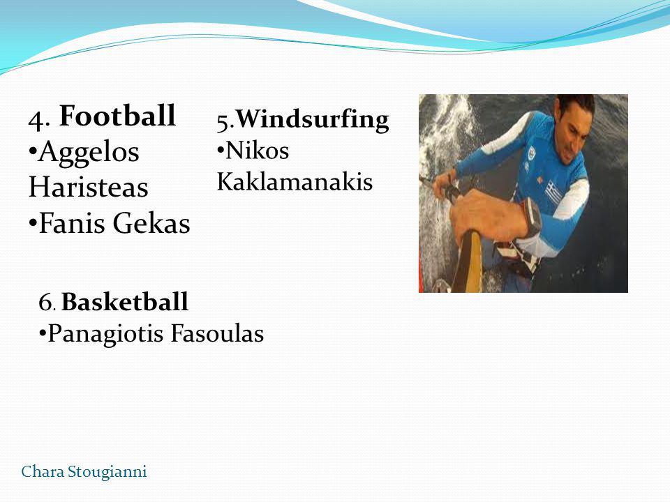4. Football Aggelos Haristeas Fanis Gekas 5.Windsurfing Nikos Kaklamanakis 6. Basketball Panagiotis Fasoulas Chara Stougianni