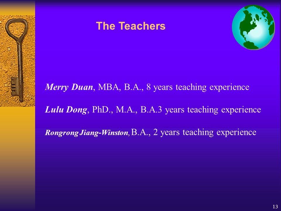 13 Merry Duan, MBA, B.A., 8 years teaching experience Lulu Dong, PhD., M.A., B.A.3 years teaching experience Rongrong Jiang-Winston, B.A., 2 years teaching experience The Teachers
