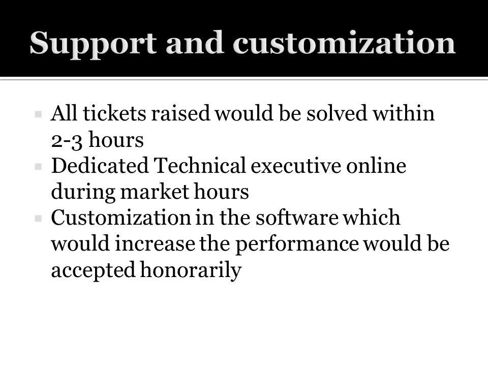 All tickets raised would be solved within 2-3 hours Dedicated Technical executive online during market hours Customization in the software which would increase the performance would be accepted honorarily