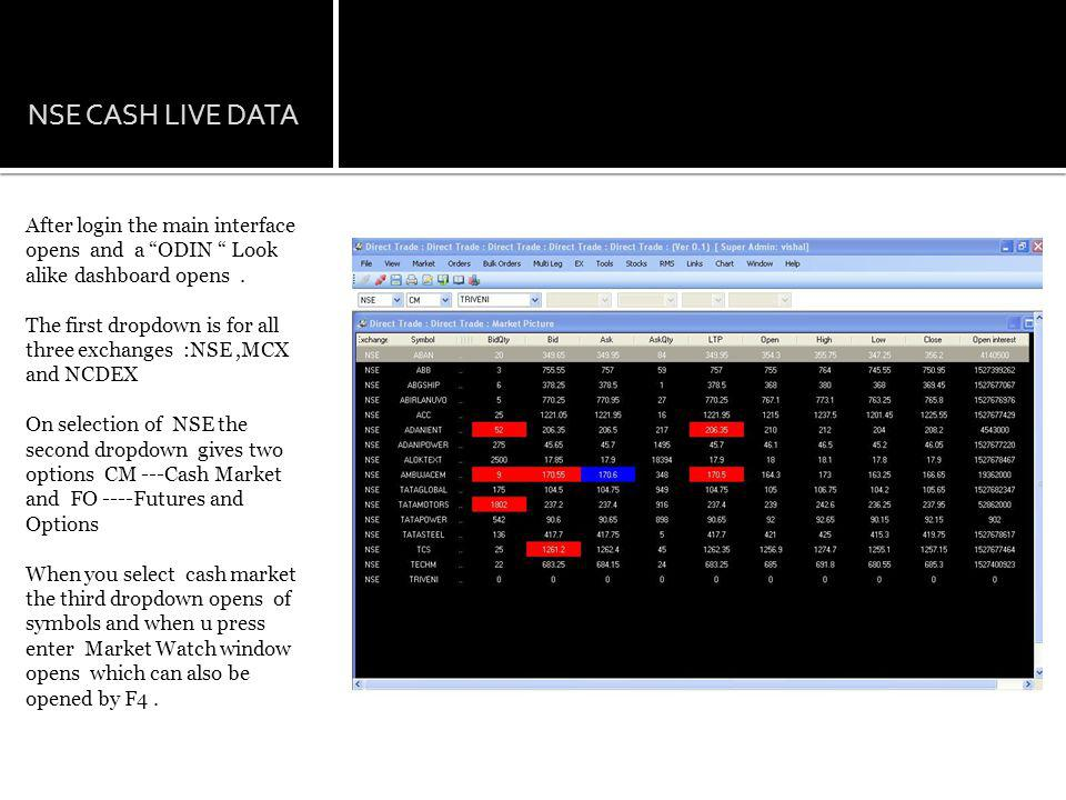 NSE CASH LIVE DATA After login the main interface opens and a ODIN Look alike dashboard opens.