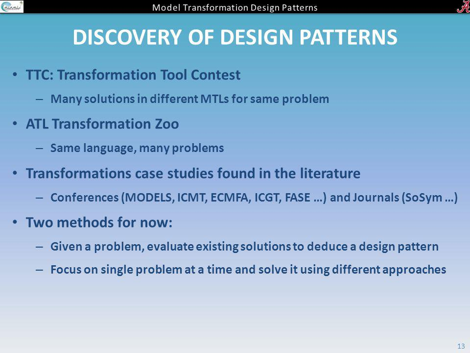 DISCOVERY OF DESIGN PATTERNS TTC: Transformation Tool Contest – Many solutions in different MTLs for same problem ATL Transformation Zoo – Same langua