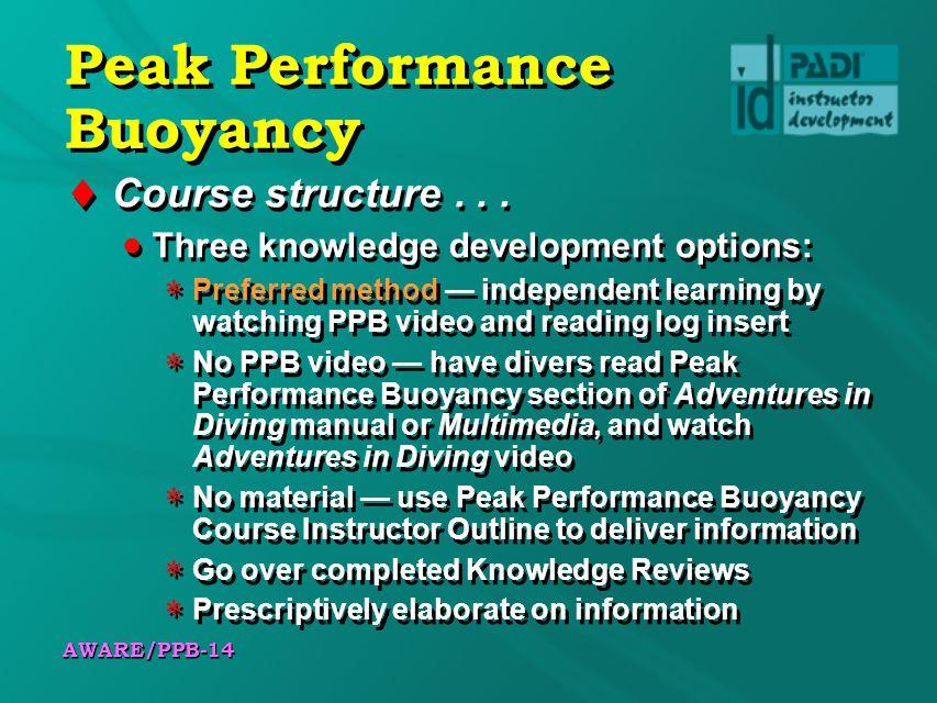 AWARE/PPB-14 Peak Performance Buoyancy Course structure...