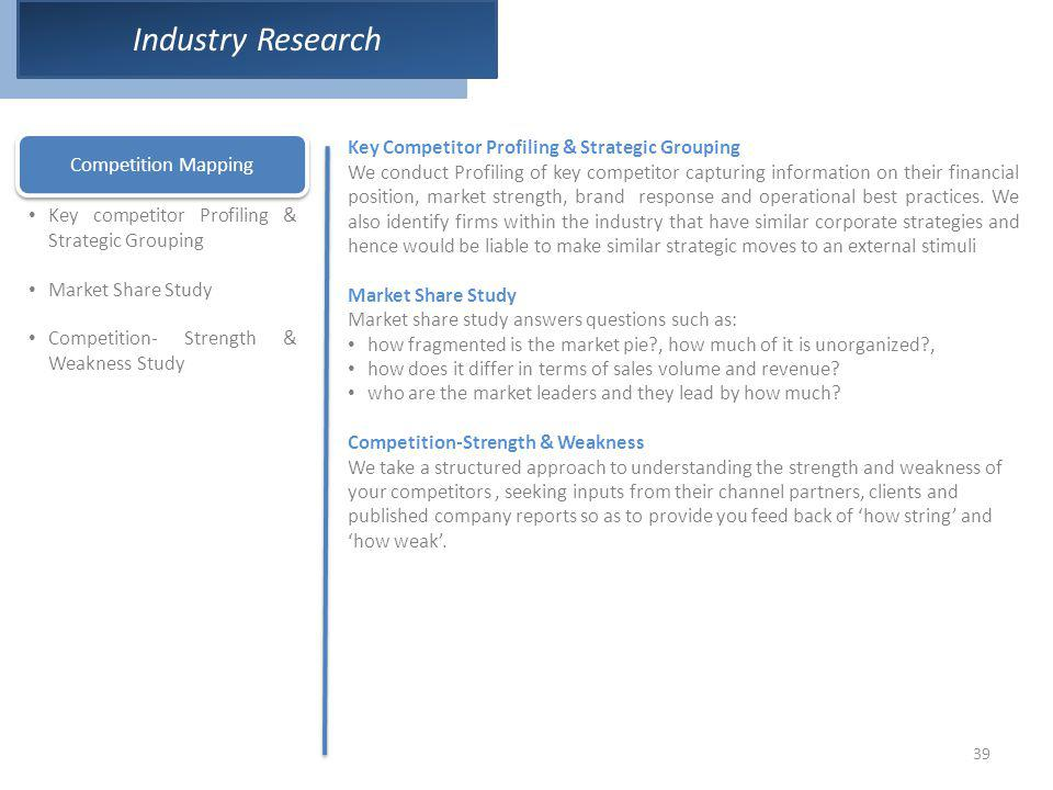 39 Industry Research Competition Mapping Key competitor Profiling & Strategic Grouping Market Share Study Competition- Strength & Weakness Study Key C