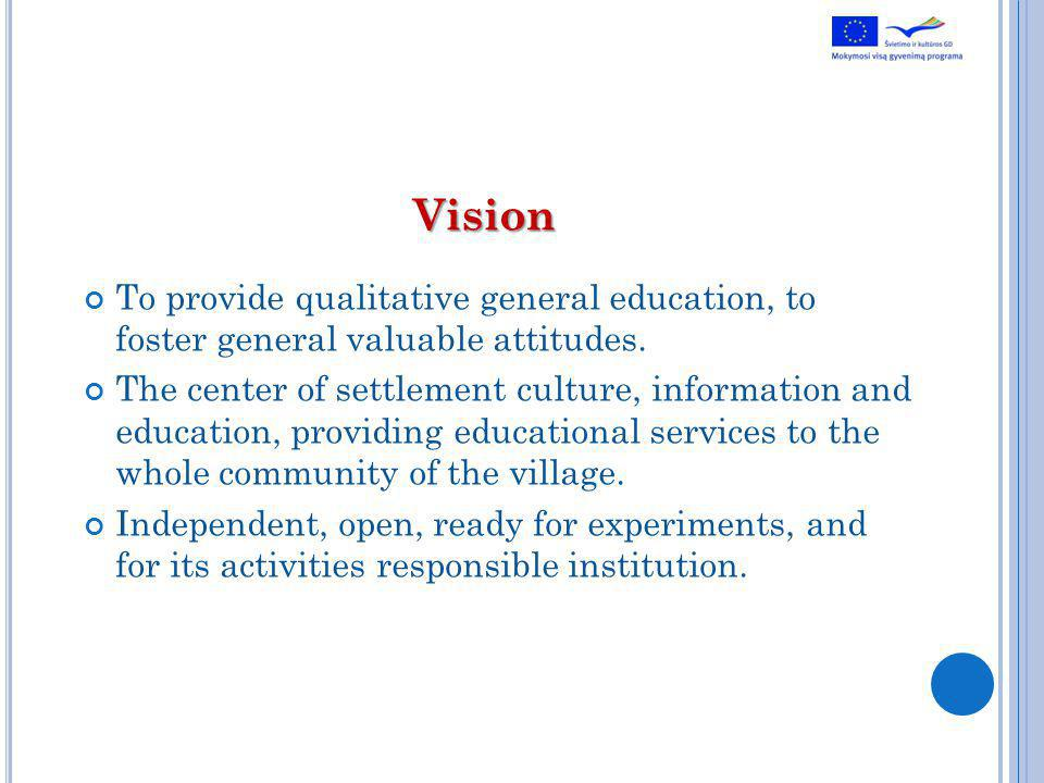 Vision To provide qualitative general education, to foster general valuable attitudes.