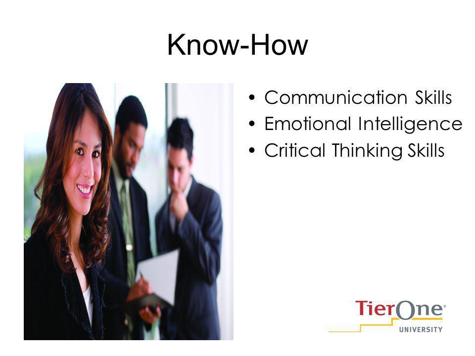 Know-How Communication Skills Emotional Intelligence Critical Thinking Skills