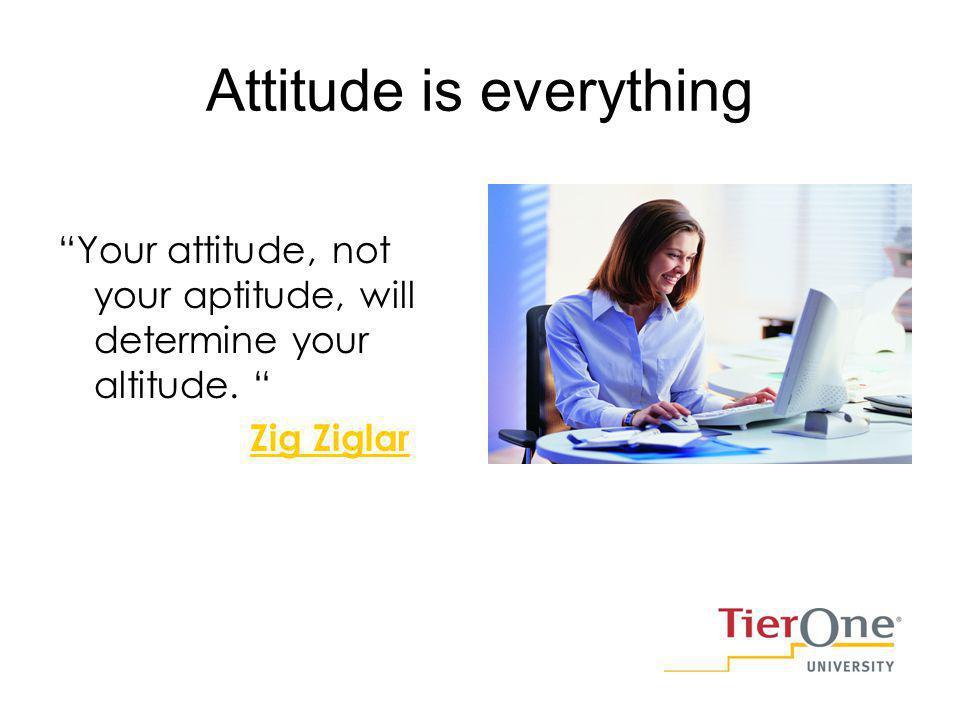 Attitude is everything Your attitude, not your aptitude, will determine your altitude. Zig Ziglar