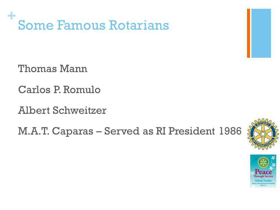 + Some Famous Rotarians Thomas Mann Carlos P. Romulo Albert Schweitzer M.A.T. Caparas – Served as RI President 1986