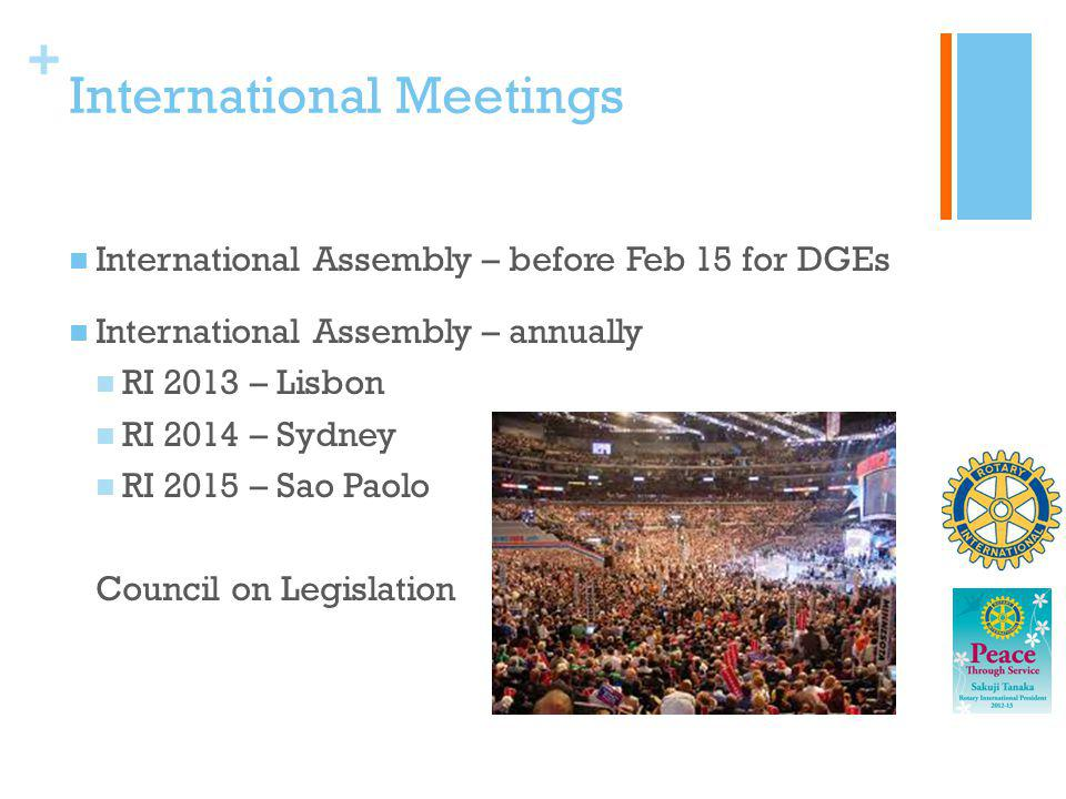 + International Meetings International Assembly – before Feb 15 for DGEs International Assembly – annually RI 2013 – Lisbon RI 2014 – Sydney RI 2015 –
