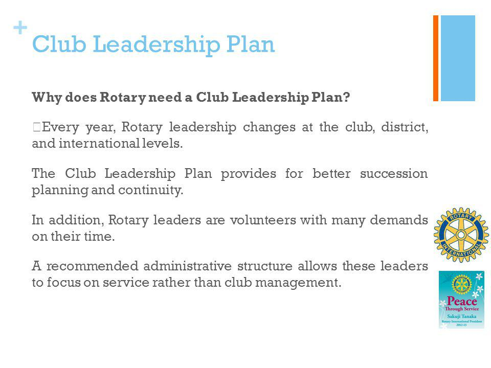 + Club Leadership Plan Why does Rotary need a Club Leadership Plan? Every year, Rotary leadership changes at the club, district, and international lev