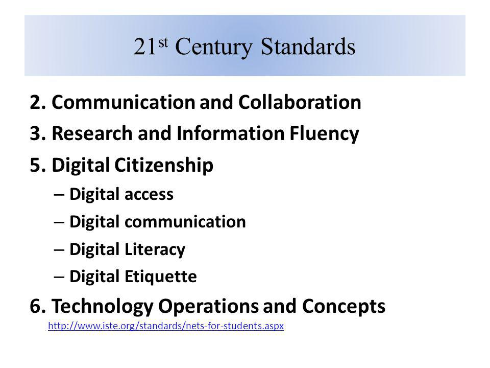 21 st Century Standards 2. Communication and Collaboration 3. Research and Information Fluency 5. Digital Citizenship – Digital access – Digital commu
