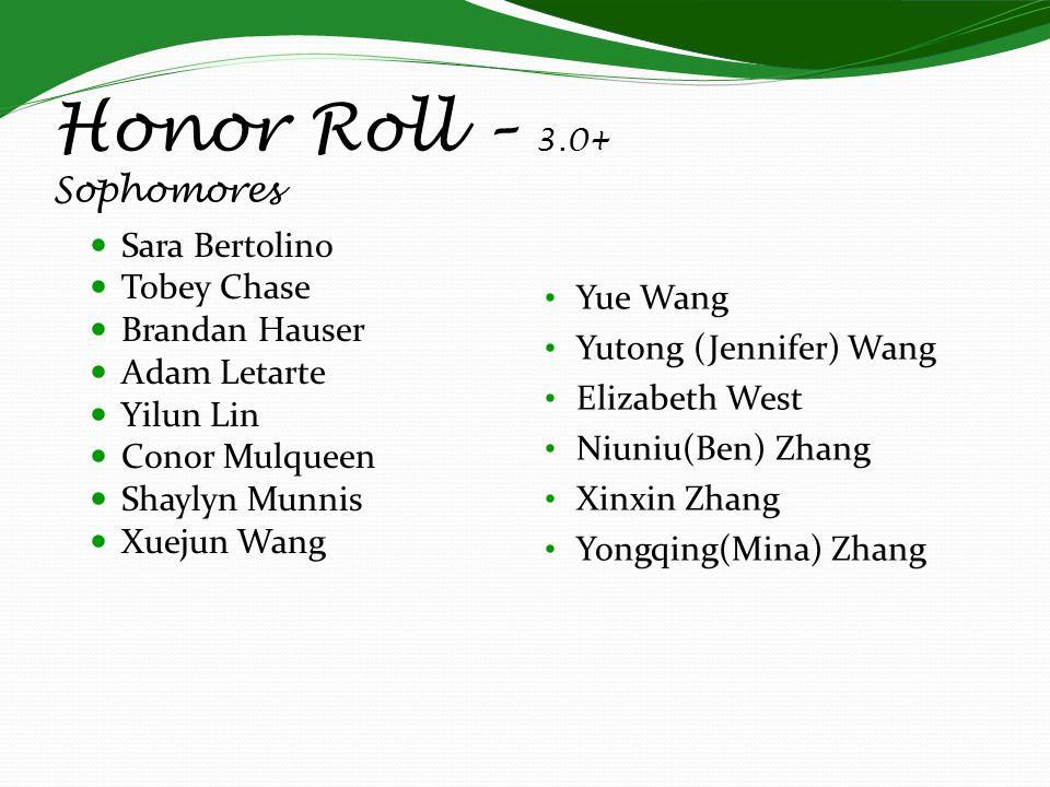 Honor Roll – 3.0+ Sophomores Sara Bertolino Tobey Chase Brandan Hauser Adam Letarte Yilun Lin Conor Mulqueen Shaylyn Munnis Xuejun Wang Yue Wang Yutong (Jennifer) Wang Elizabeth West Niuniu(Ben) Zhang Xinxin Zhang Yongqing(Mina) Zhang